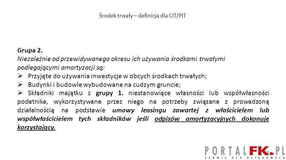Środek trwały – definicja dla CIT/PIT