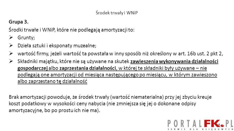 Środki trwałe i WNiP, które nie podlegają amortyzacji to: Grunty;