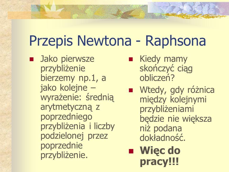 Przepis Newtona - Raphsona
