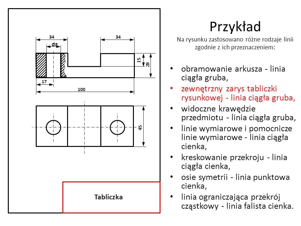 34 Ø8. 17. 15. 28. 100. 45. Tabliczka. Przykład Na rysunku zastosowano różne rodzaje linii zgodnie z ich przeznaczeniem: