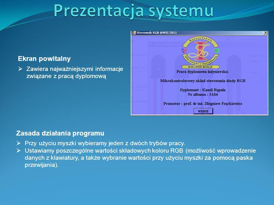 Prezentacja systemu Ekran powitalny Zasada działania programu