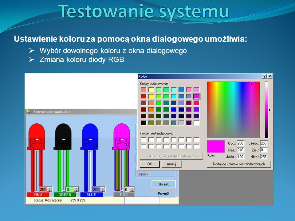 Testowanie systemu Ustawienie koloru za pomocą okna dialogowego umożliwia: Wybór dowolnego koloru z okna dialogowego.