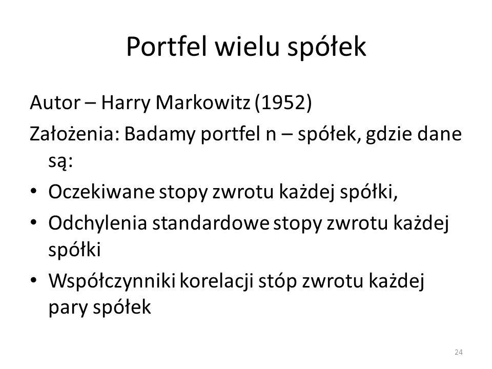Portfel wielu spółek Autor – Harry Markowitz (1952)