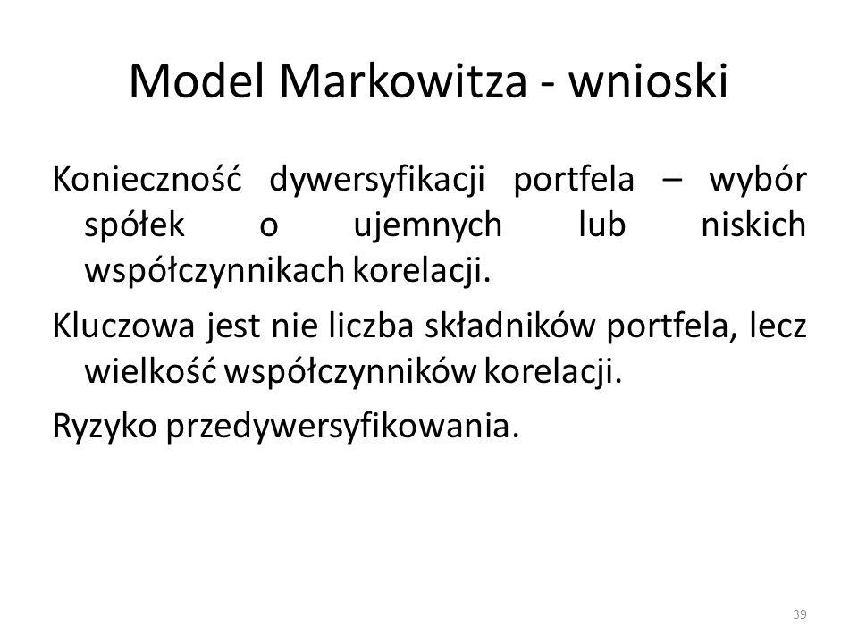 Model Markowitza - wnioski