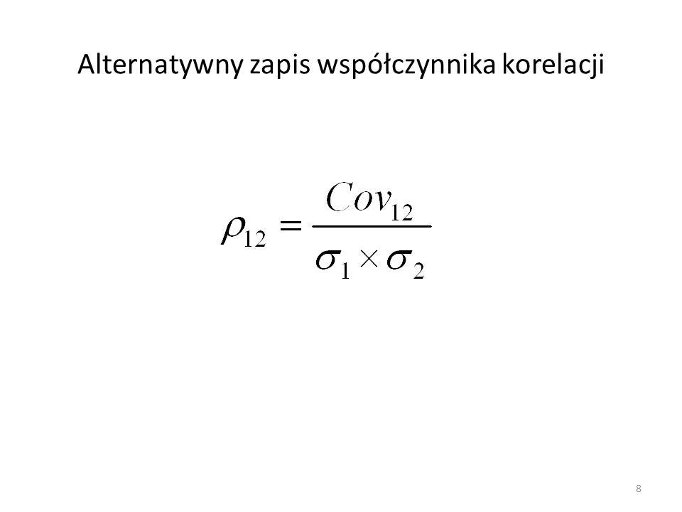 Alternatywny zapis współczynnika korelacji