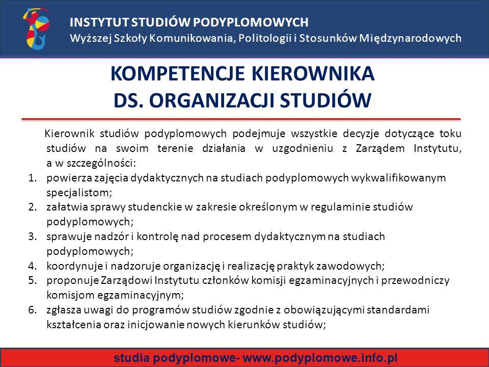 KOMPETENCJE KIEROWNIKA DS. ORGANIZACJI STUDIÓW