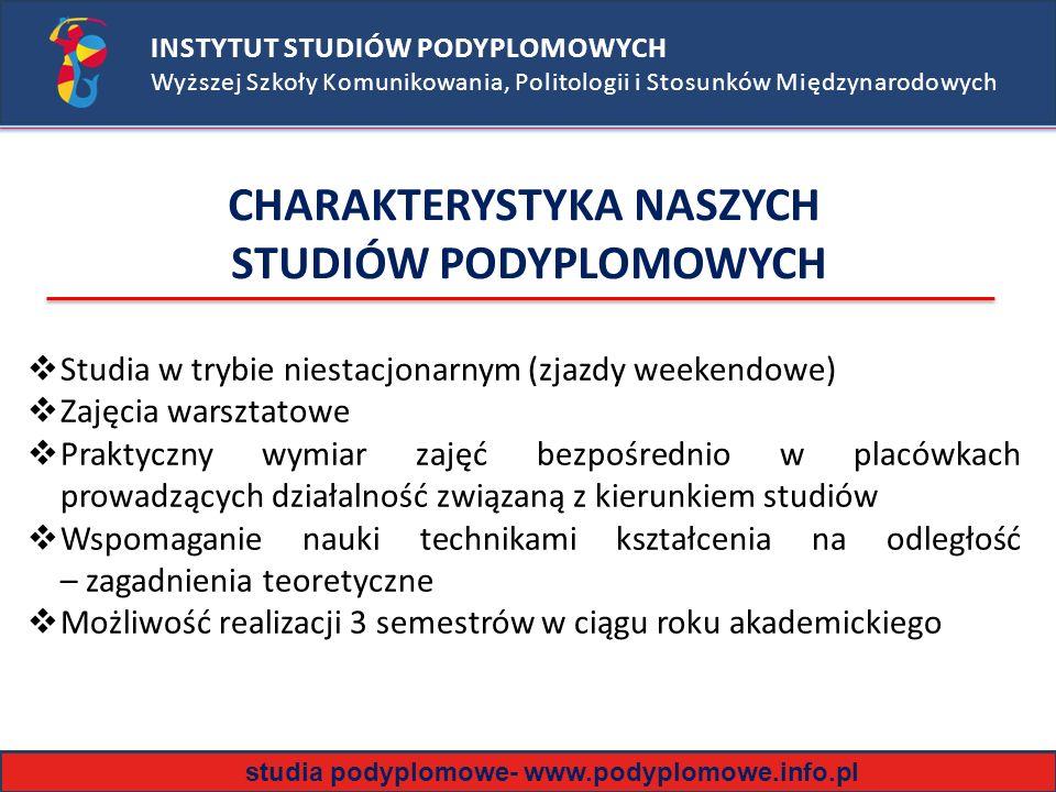 CHARAKTERYSTYKA NASZYCH STUDIÓW PODYPLOMOWYCH