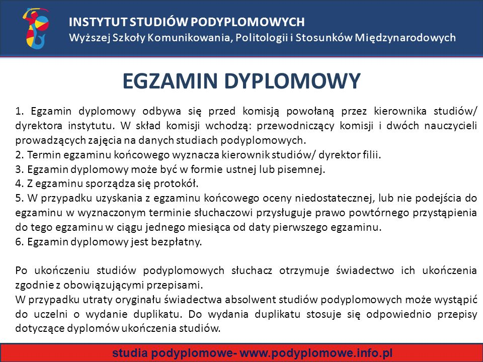 EGZAMIN DYPLOMOWY INSTYTUT STUDIÓW PODYPLOMOWYCH