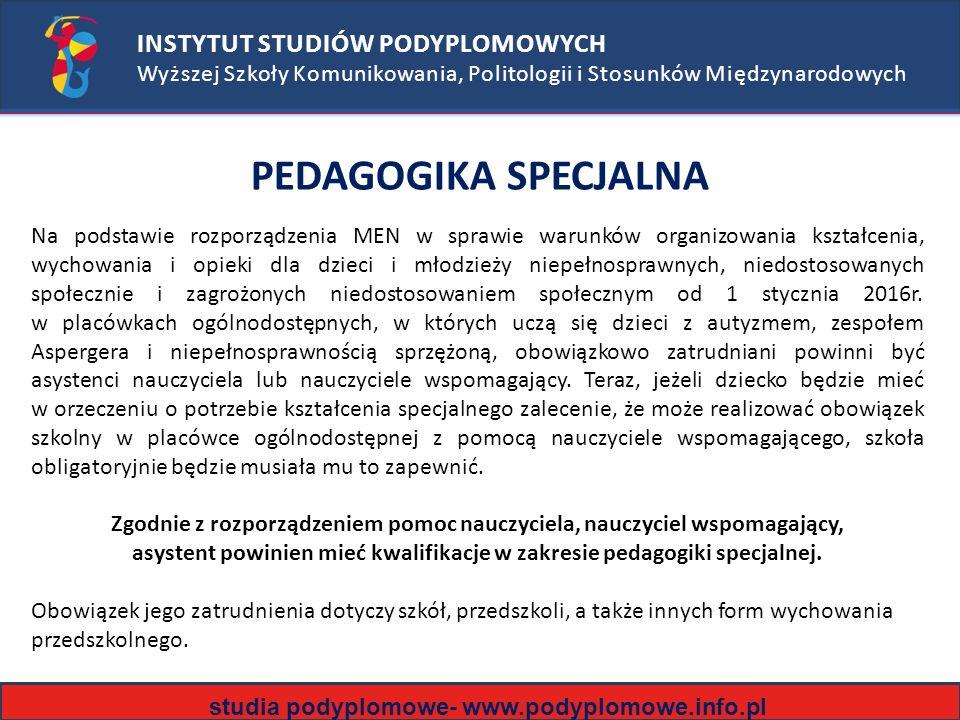 PEDAGOGIKA SPECJALNA INSTYTUT STUDIÓW PODYPLOMOWYCH