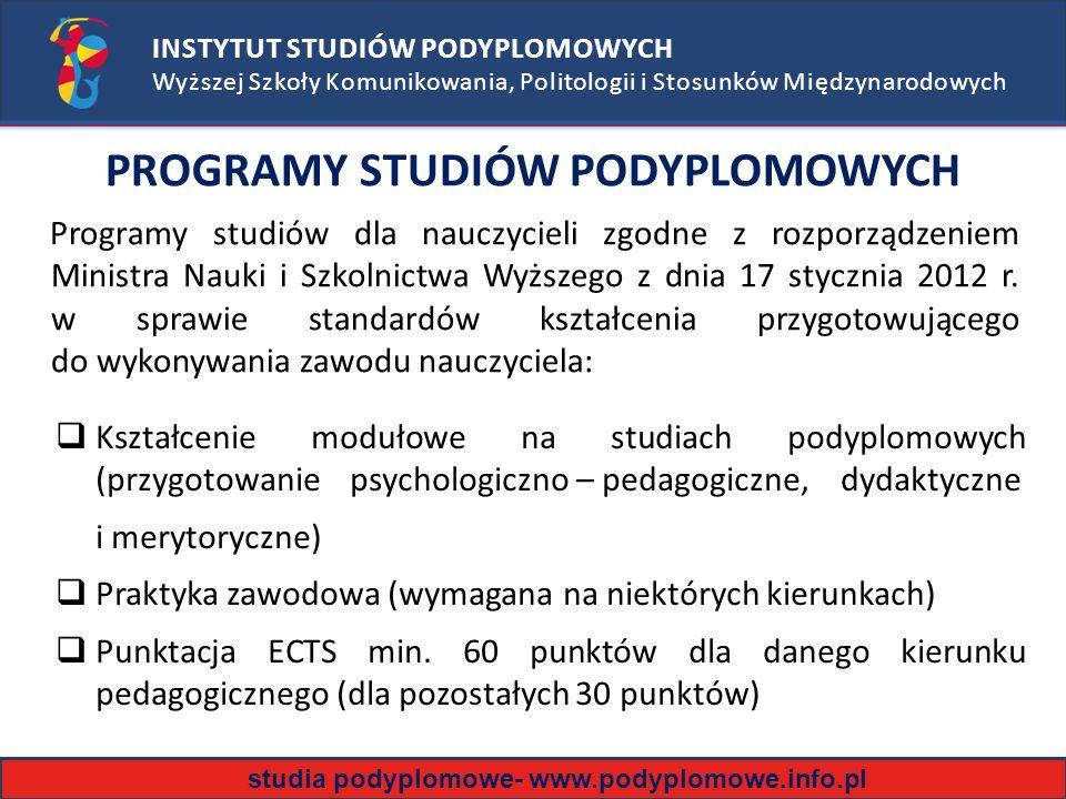 PROGRAMY STUDIÓW PODYPLOMOWYCH