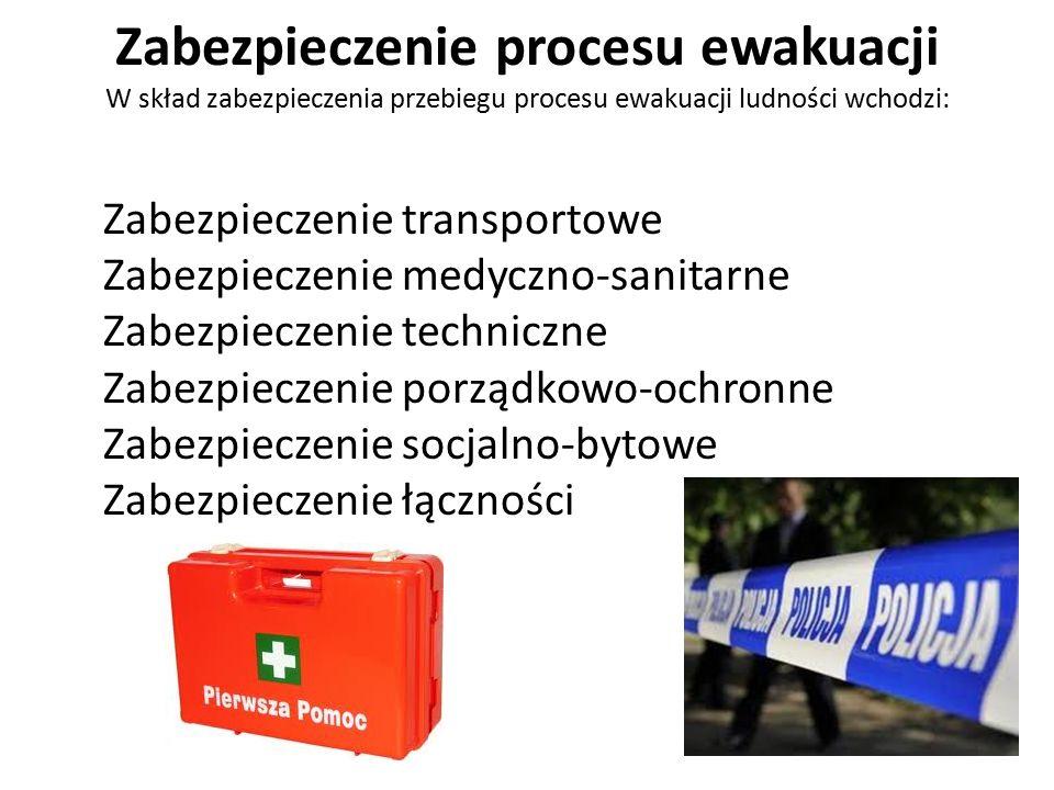 Zabezpieczenie procesu ewakuacji W skład zabezpieczenia przebiegu procesu ewakuacji ludności wchodzi: