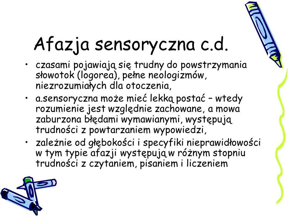 Afazja sensoryczna c.d. czasami pojawiają się trudny do powstrzymania słowotok (logorea), pełne neologizmów, niezrozumiałych dla otoczenia,