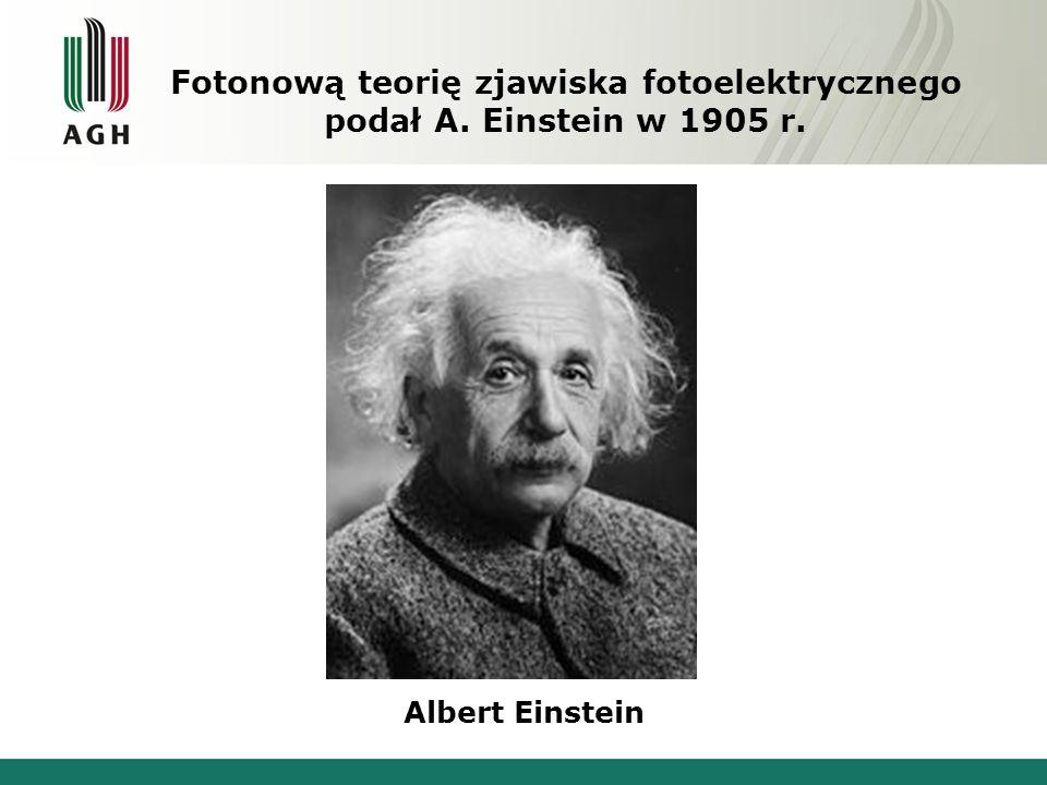 Fotonową teorię zjawiska fotoelektrycznego podał A. Einstein w 1905 r.