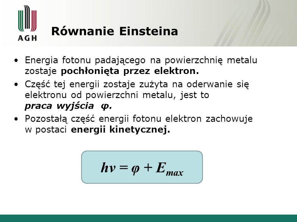 hv = φ + Emax Równanie Einsteina