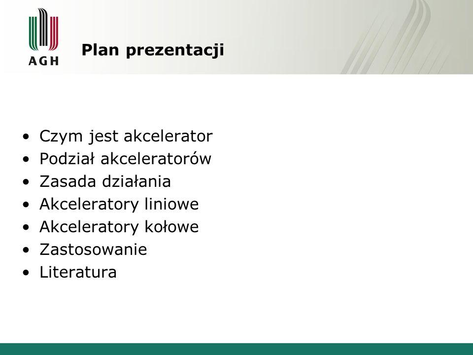 Plan prezentacji Czym jest akcelerator. Podział akceleratorów. Zasada działania. Akceleratory liniowe.