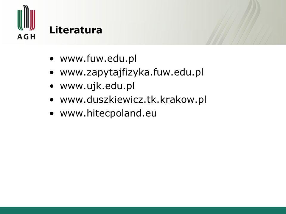Literatura www.fuw.edu.pl. www.zapytajfizyka.fuw.edu.pl. www.ujk.edu.pl. www.duszkiewicz.tk.krakow.pl.