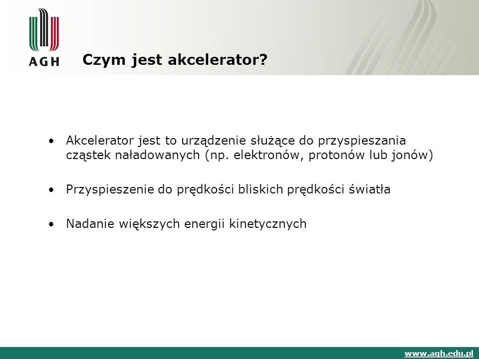 Czym jest akcelerator Akcelerator jest to urządzenie służące do przyspieszania cząstek naładowanych (np. elektronów, protonów lub jonów)