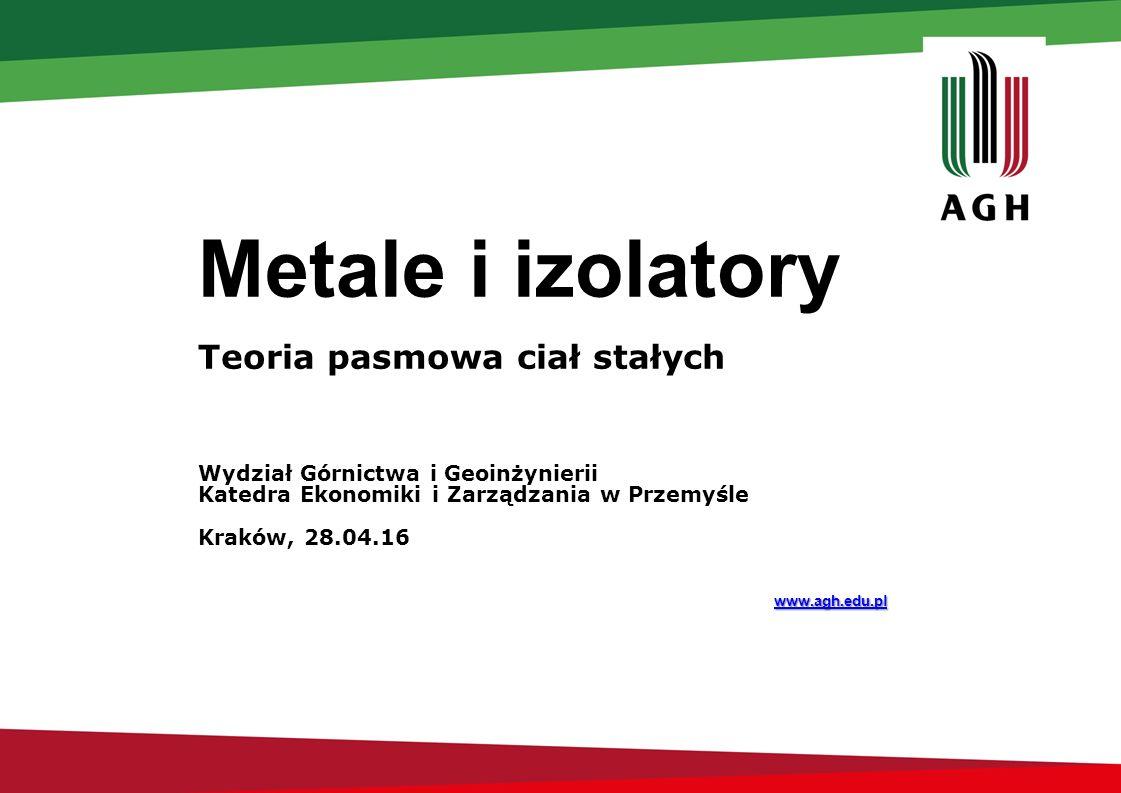 Metale i izolatory Teoria pasmowa ciał stałych