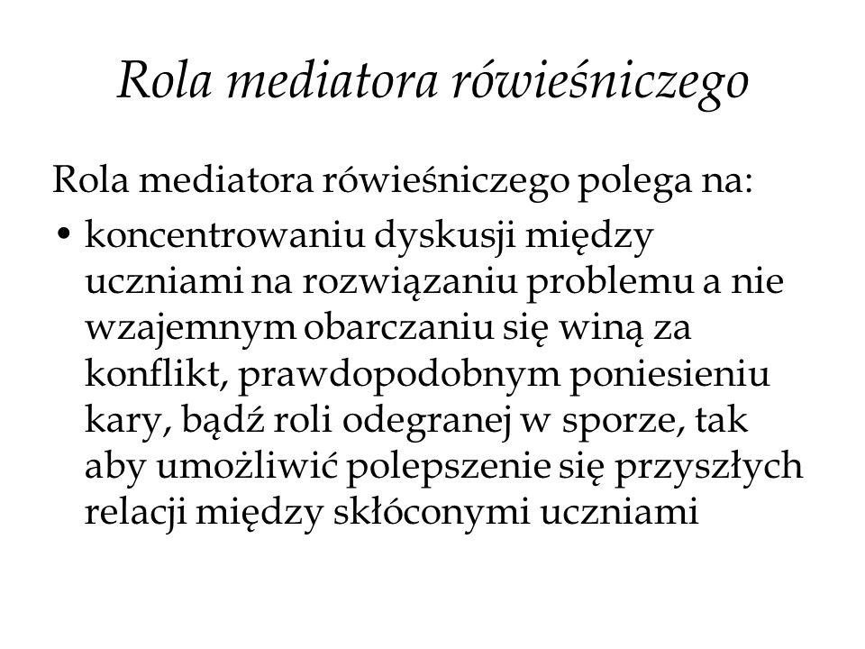 Rola mediatora rówieśniczego