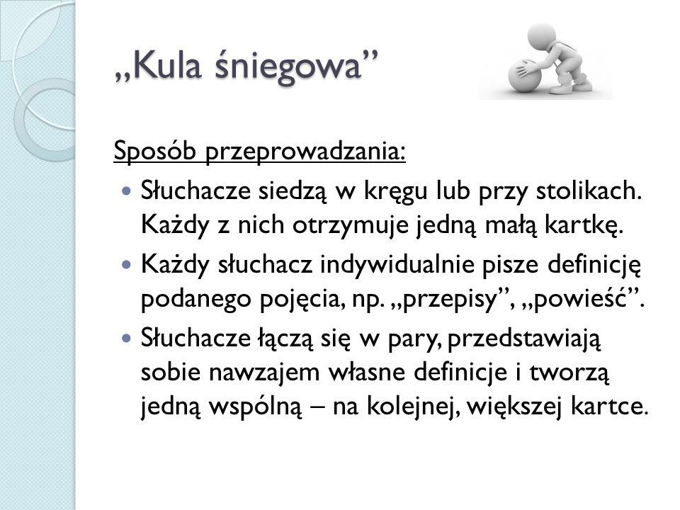 """""""Kula śniegowa Sposób przeprowadzania:"""