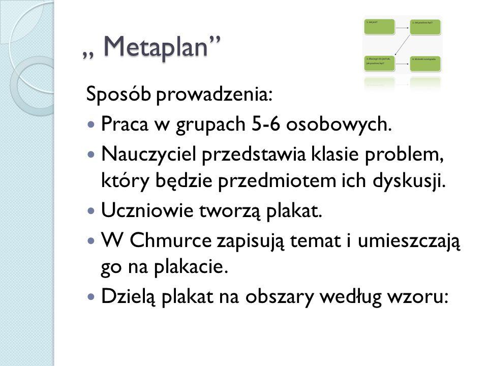 """"""" Metaplan Sposób prowadzenia: Praca w grupach 5-6 osobowych."""