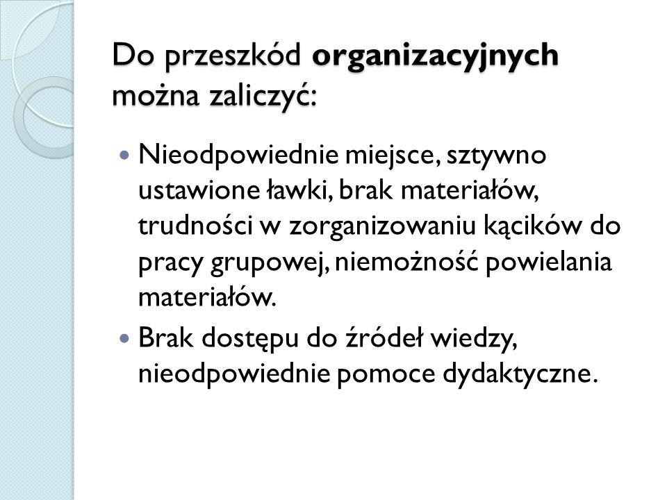 Do przeszkód organizacyjnych można zaliczyć: