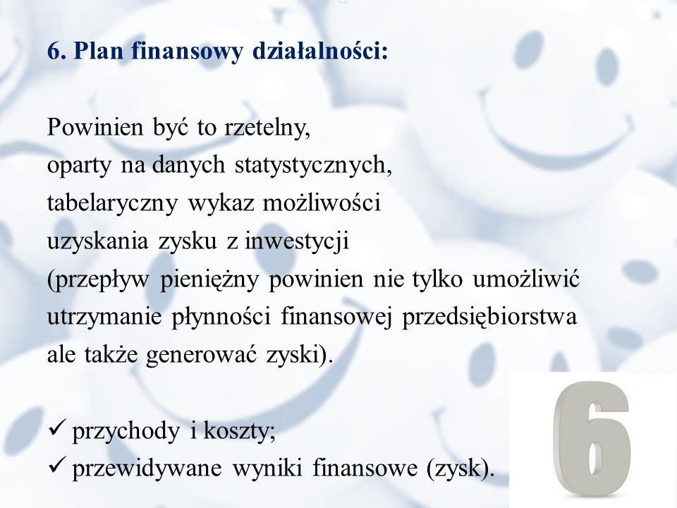 6. Plan finansowy działalności: