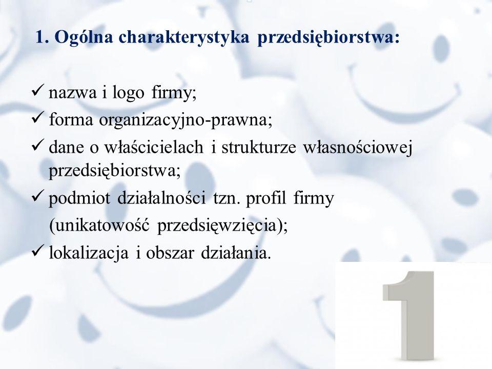 1. Ogólna charakterystyka przedsiębiorstwa:
