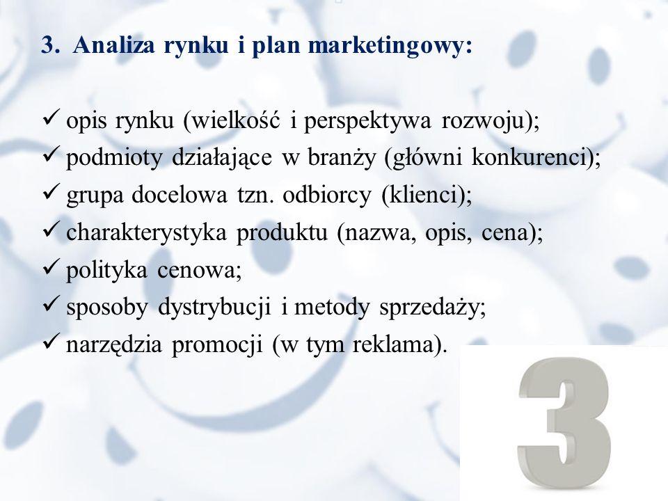 3. Analiza rynku i plan marketingowy: