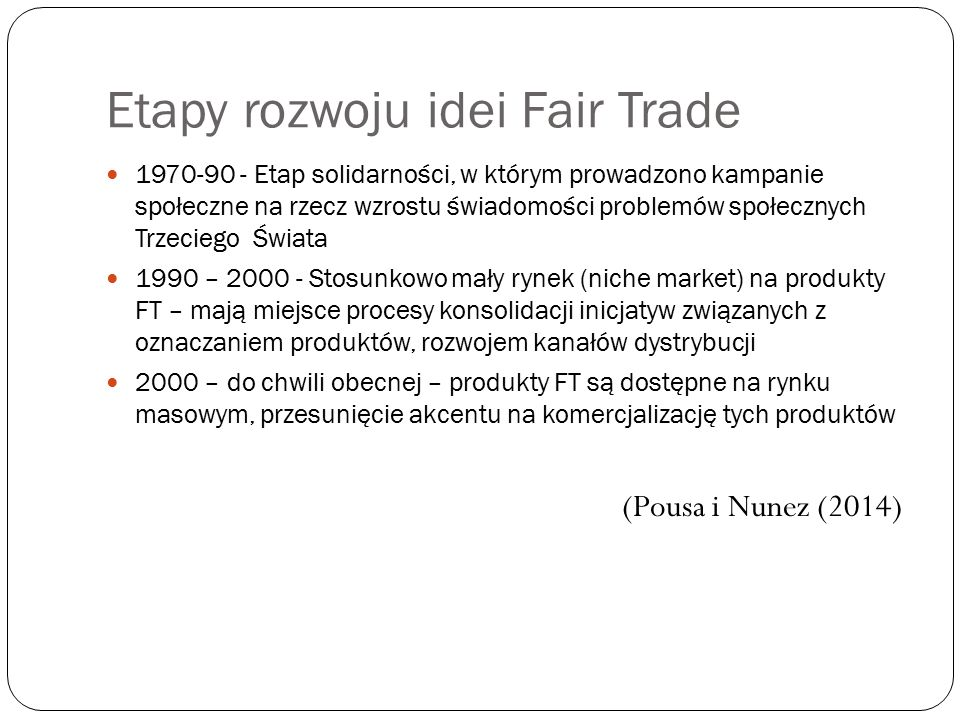 Etapy rozwoju idei Fair Trade