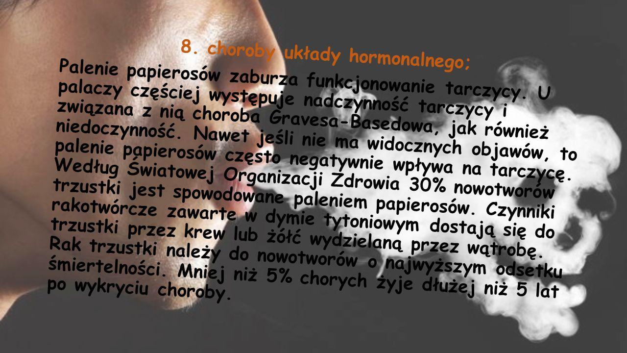 8. choroby układy hormonalnego; Palenie papierosów zaburza funkcjonowanie tarczycy.