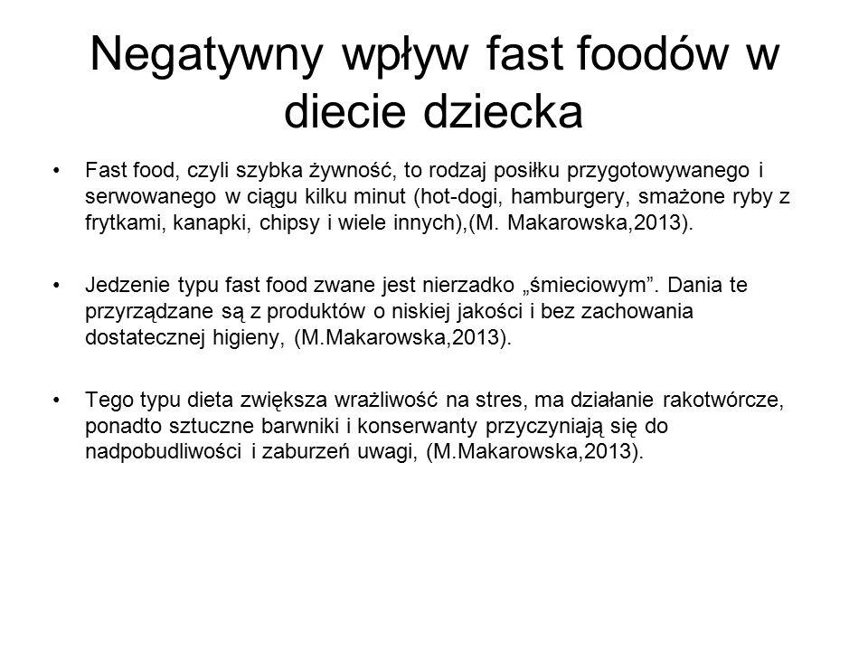 Negatywny wpływ fast foodów w diecie dziecka