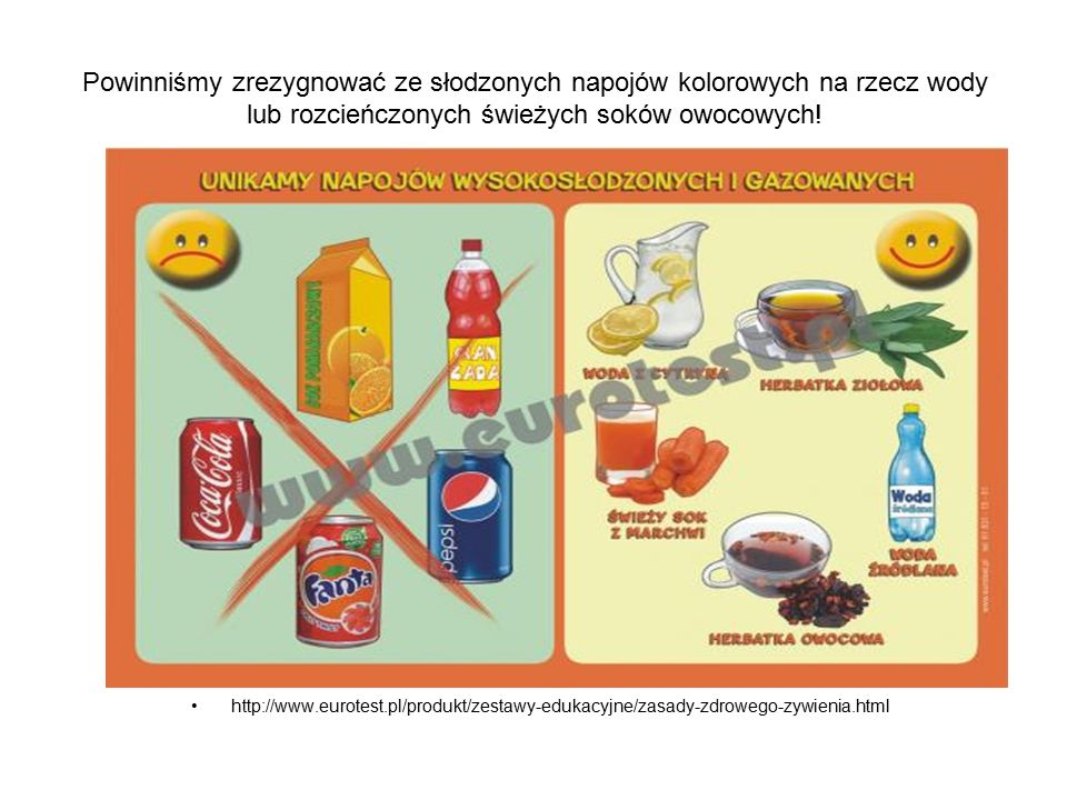 Powinniśmy zrezygnować ze słodzonych napojów kolorowych na rzecz wody lub rozcieńczonych świeżych soków owocowych!