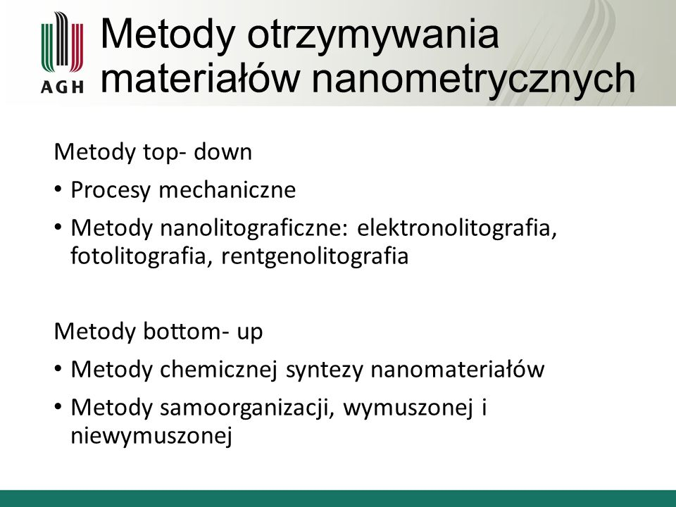 Metody otrzymywania materiałów nanometrycznych