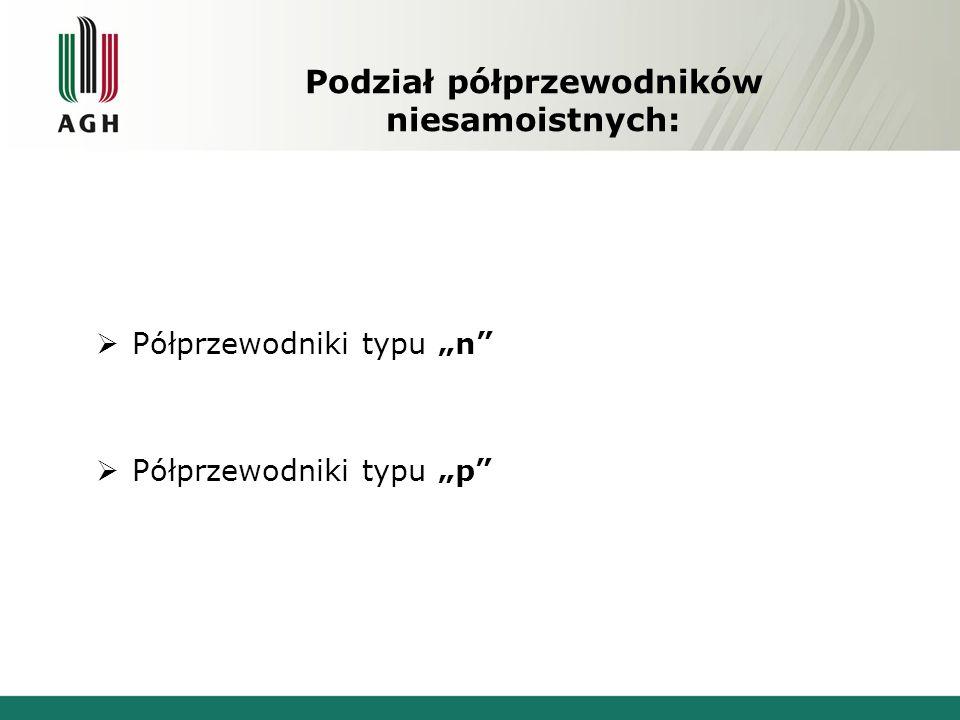 Podział półprzewodników niesamoistnych: