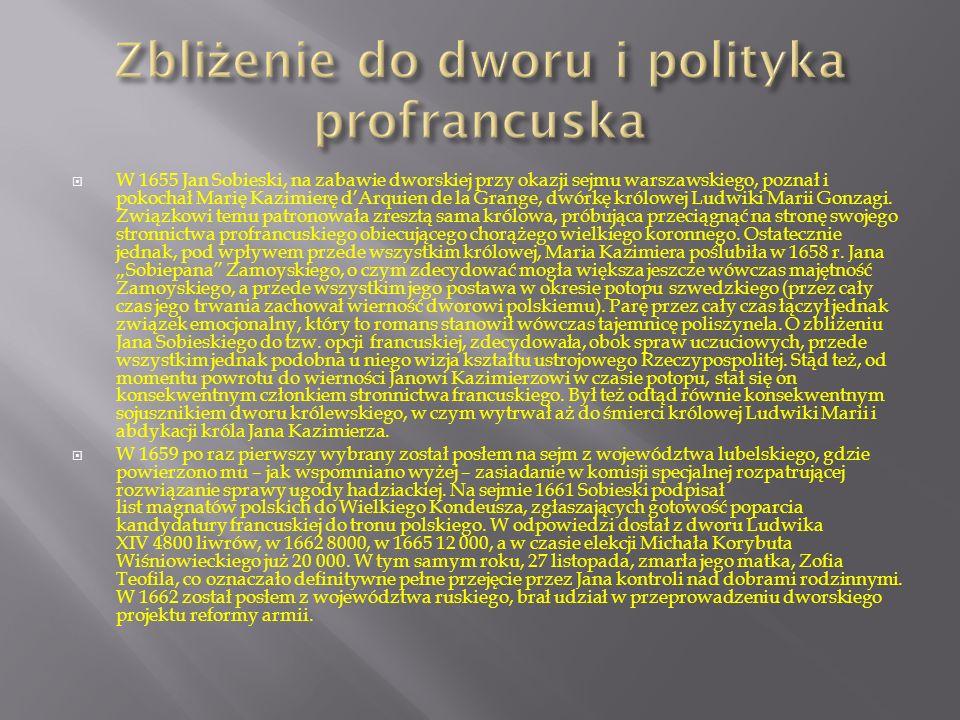 Zbliżenie do dworu i polityka profrancuska