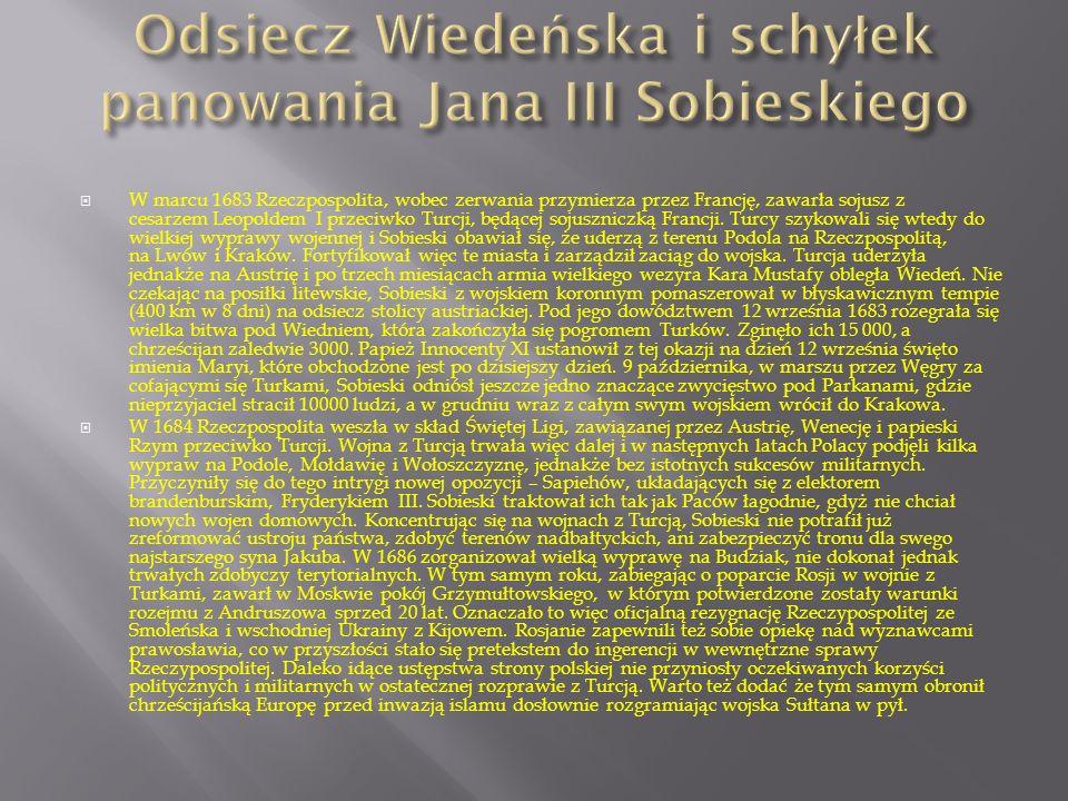 Odsiecz Wiedeńska i schyłek panowania Jana III Sobieskiego