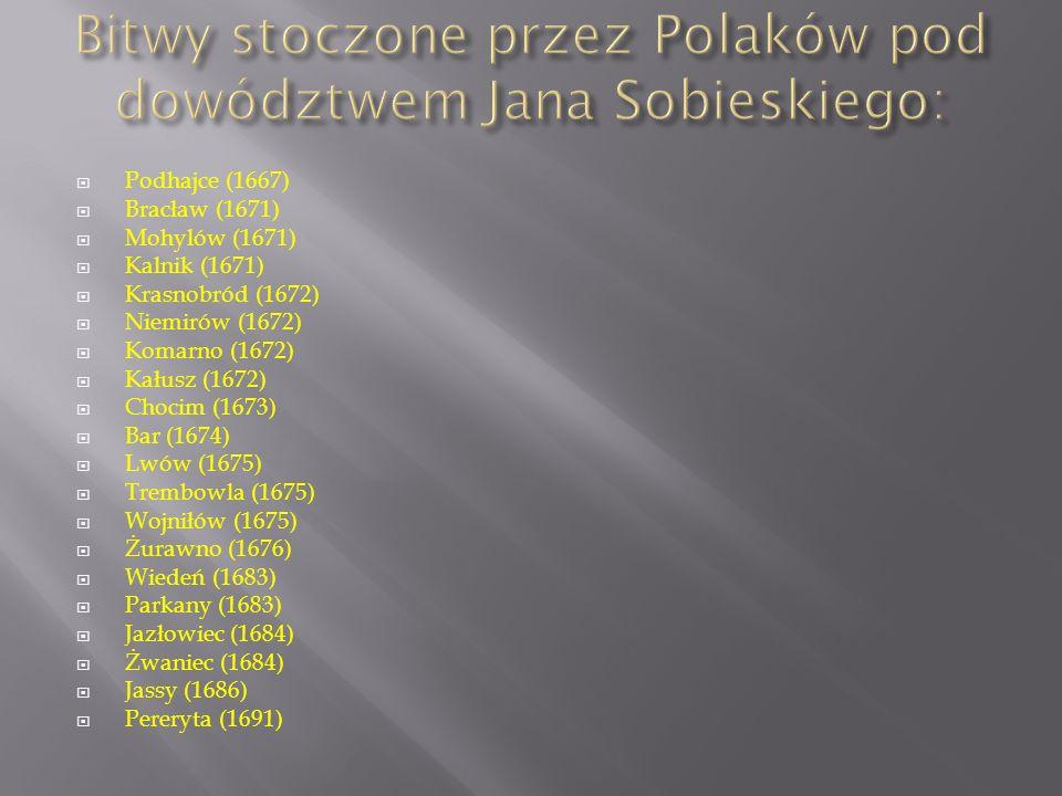 Bitwy stoczone przez Polaków pod dowództwem Jana Sobieskiego: