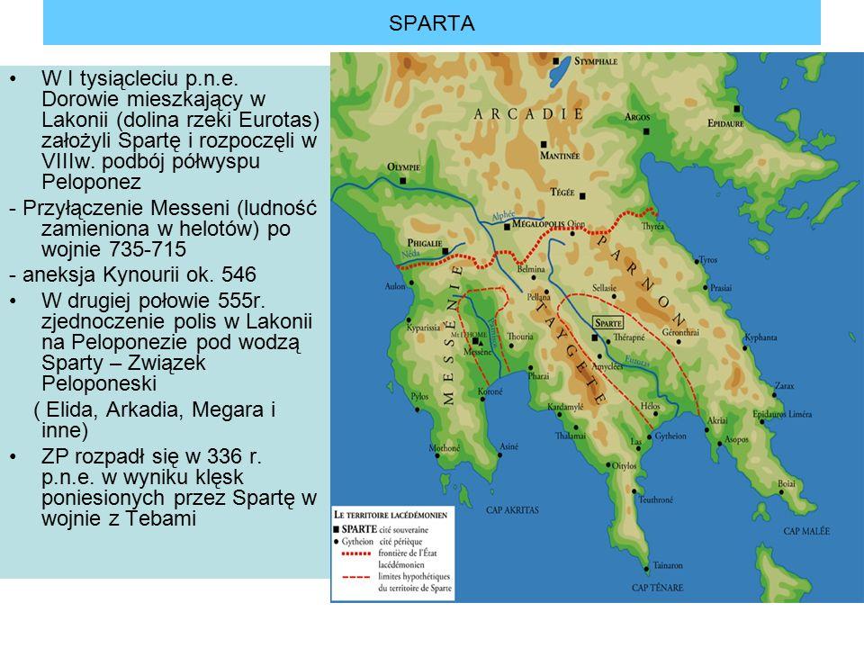 SPARTA W I tysiącleciu p.n.e. Dorowie mieszkający w Lakonii (dolina rzeki Eurotas) założyli Spartę i rozpoczęli w VIIIw. podbój półwyspu Peloponez.