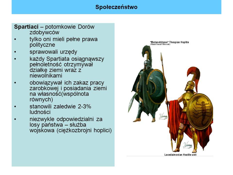 Społeczeństwo Spartiaci – potomkowie Dorów zdobywców. tylko oni mieli pełne prawa polityczne. sprawowali urzędy.
