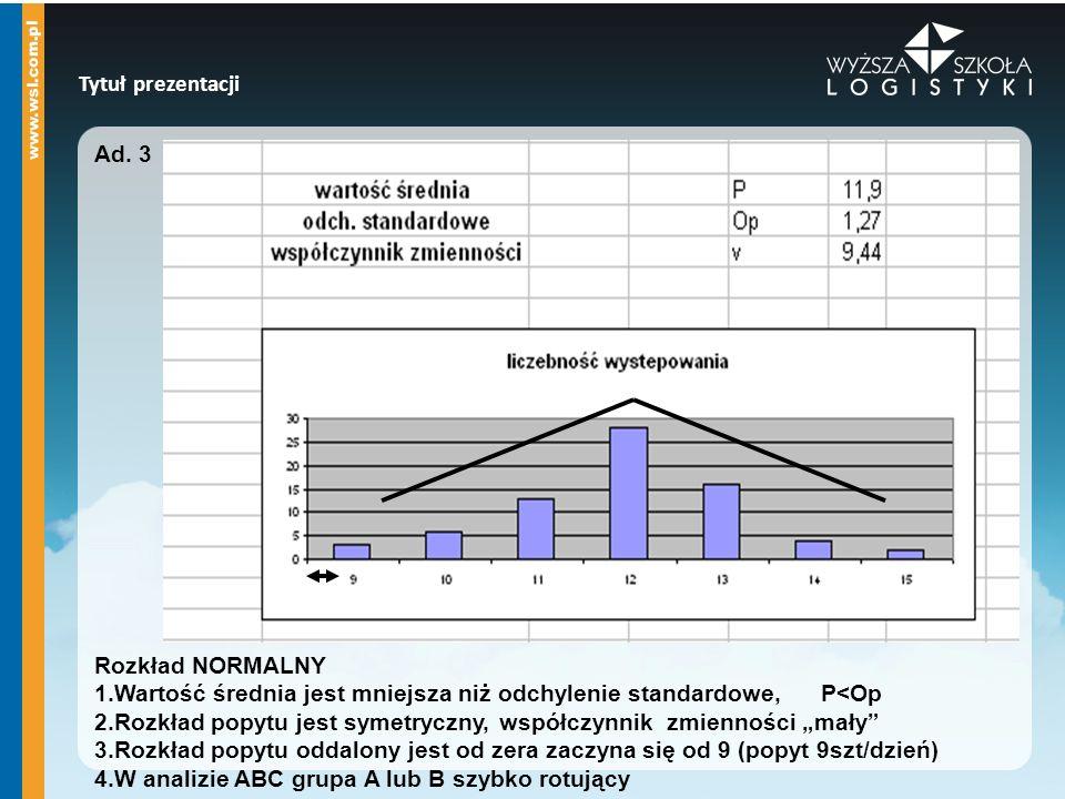Tytuł prezentacji Ad. 3. Rozkład NORMALNY. 1.Wartość średnia jest mniejsza niż odchylenie standardowe, P<Op.