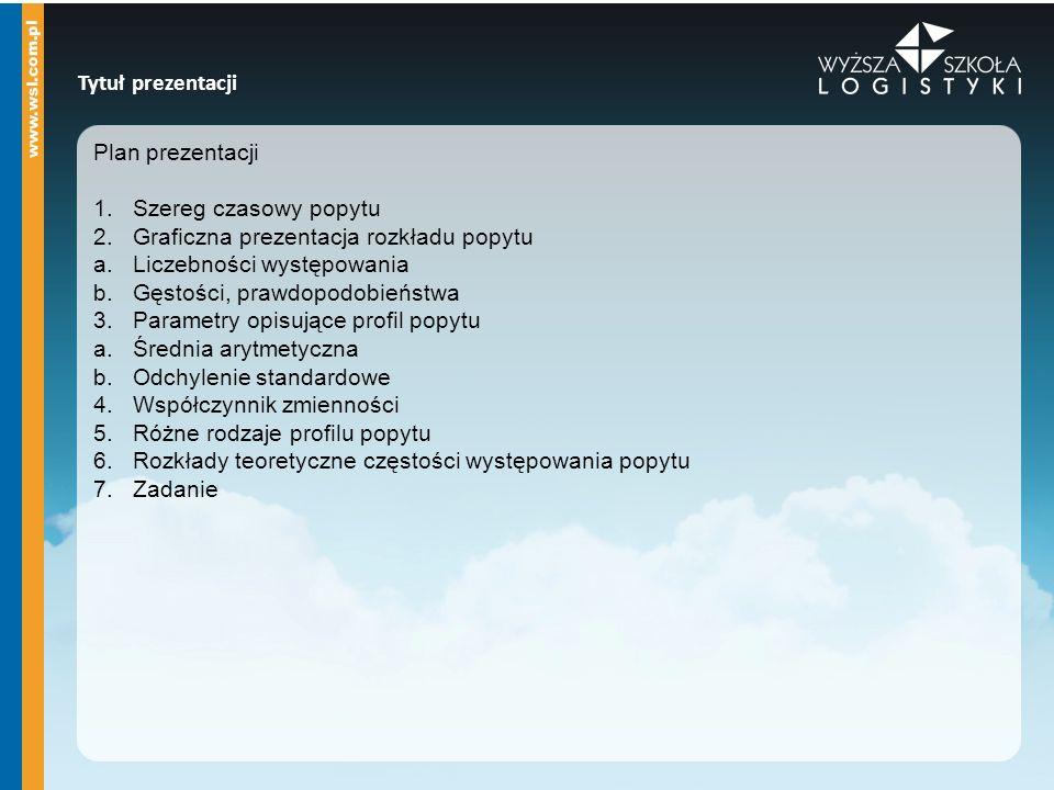 Tytuł prezentacji Plan prezentacji. Szereg czasowy popytu. Graficzna prezentacja rozkładu popytu.