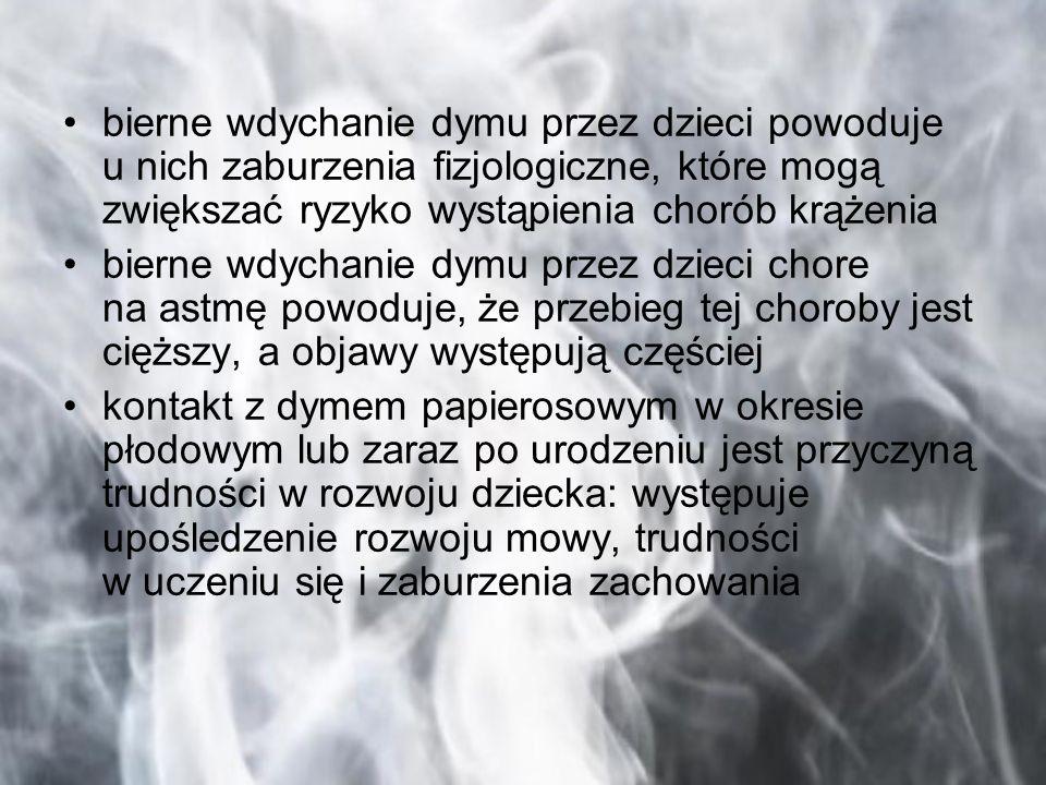 bierne wdychanie dymu przez dzieci powoduje u nich zaburzenia fizjologiczne, które mogą zwiększać ryzyko wystąpienia chorób krążenia