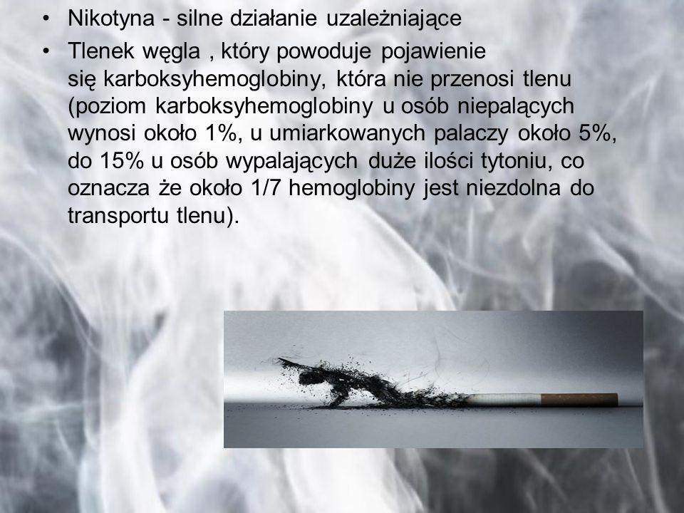 Nikotyna - silne działanie uzależniające