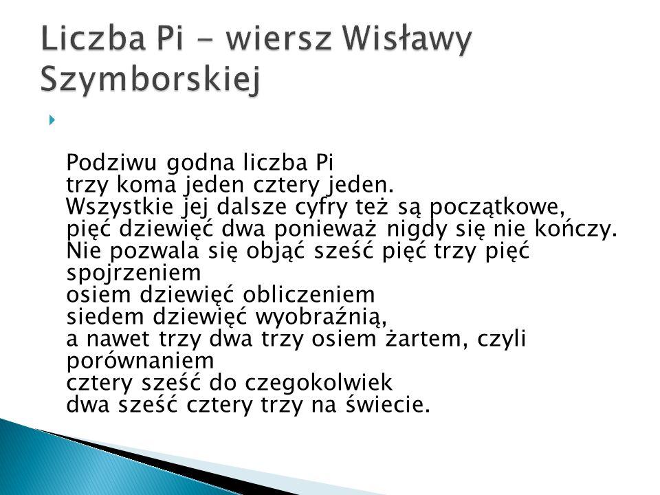 Liczba Pi - wiersz Wisławy Szymborskiej