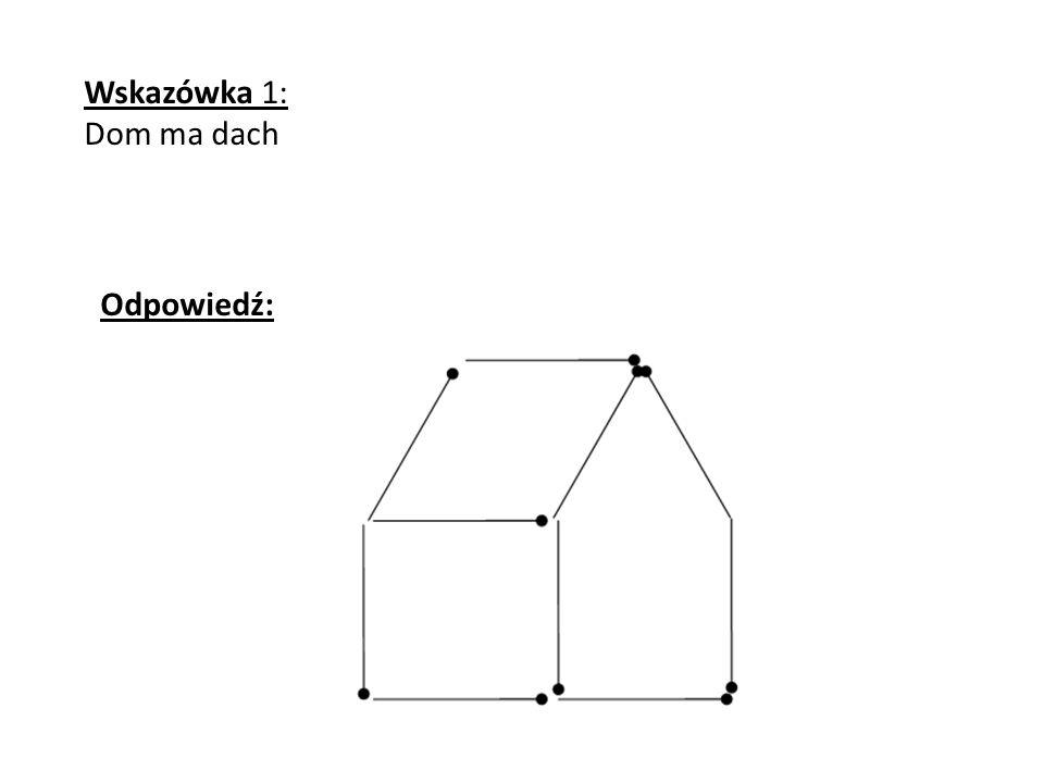 Wskazówka 1: Dom ma dach Odpowiedź: