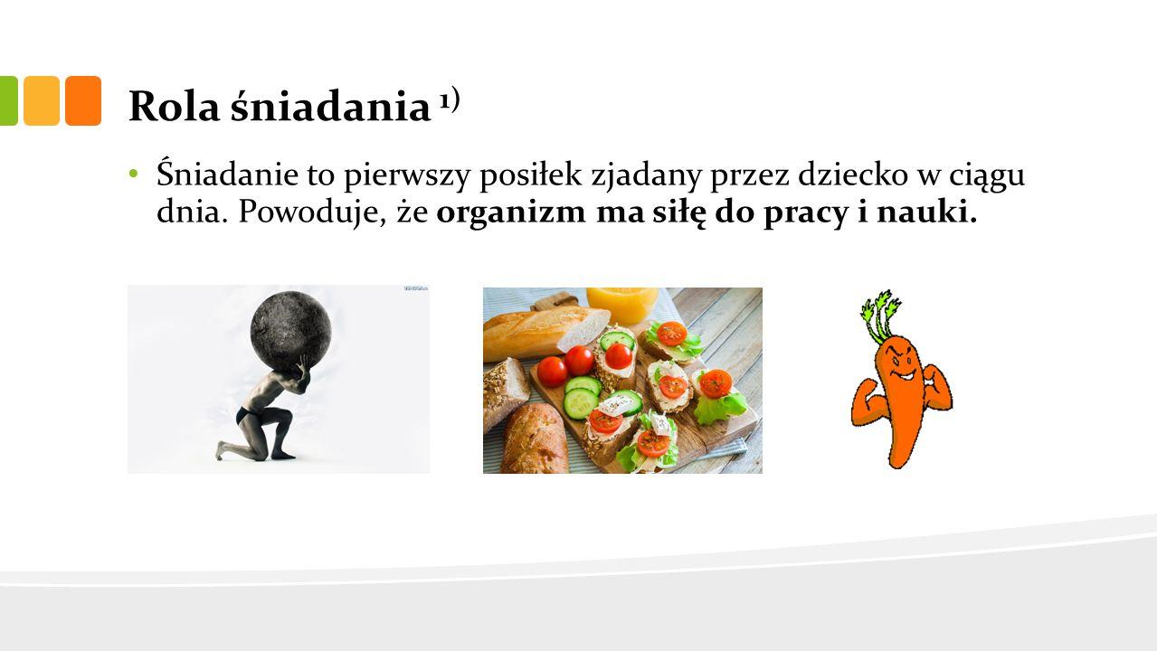 Rola śniadania 1) Śniadanie to pierwszy posiłek zjadany przez dziecko w ciągu dnia.