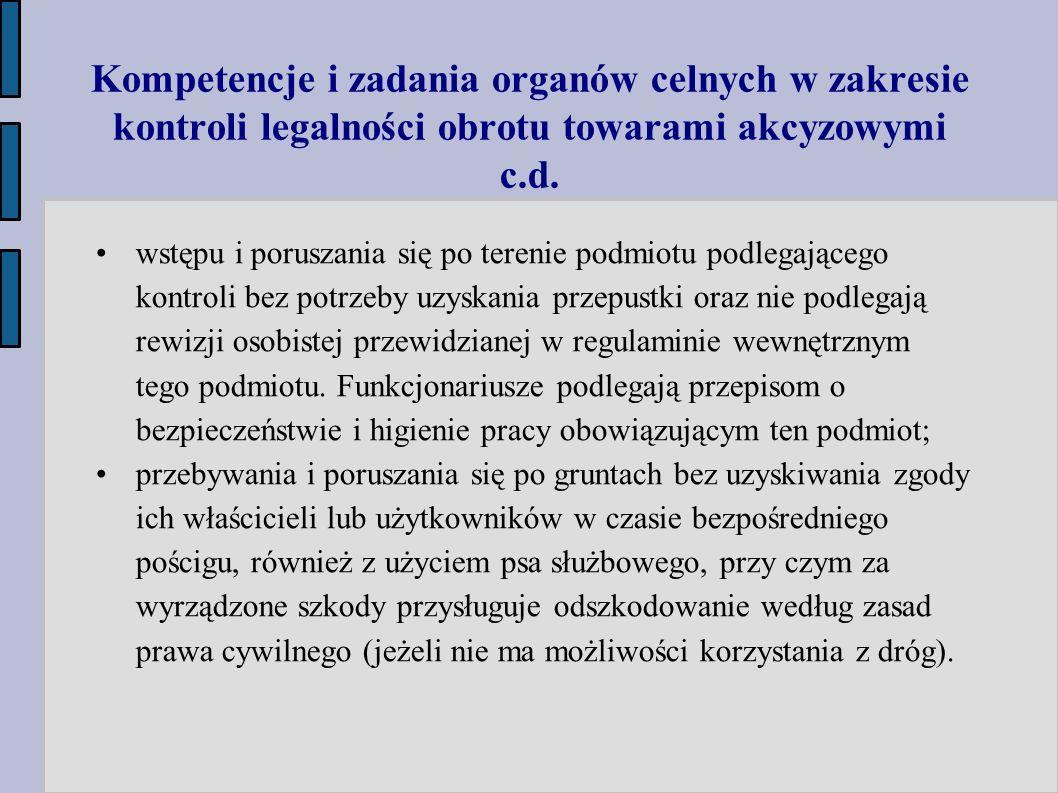 Kompetencje i zadania organów celnych w zakresie kontroli legalności obrotu towarami akcyzowymi