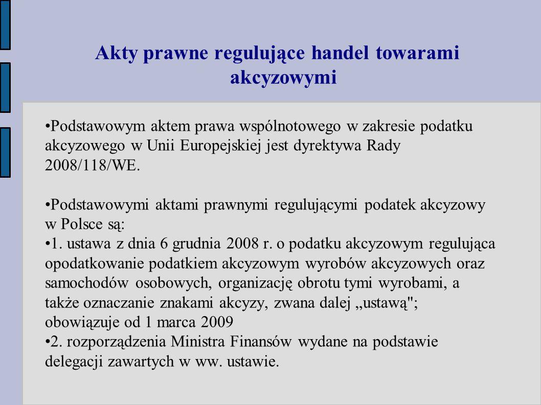 Akty prawne regulujące handel towarami akcyzowymi