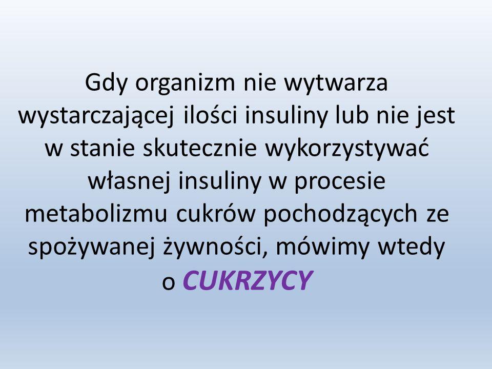 Gdy organizm nie wytwarza wystarczającej ilości insuliny lub nie jest w stanie skutecznie wykorzystywać własnej insuliny w procesie metabolizmu cukrów pochodzących ze spożywanej żywności, mówimy wtedy